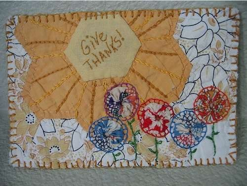 Make stitched postcards