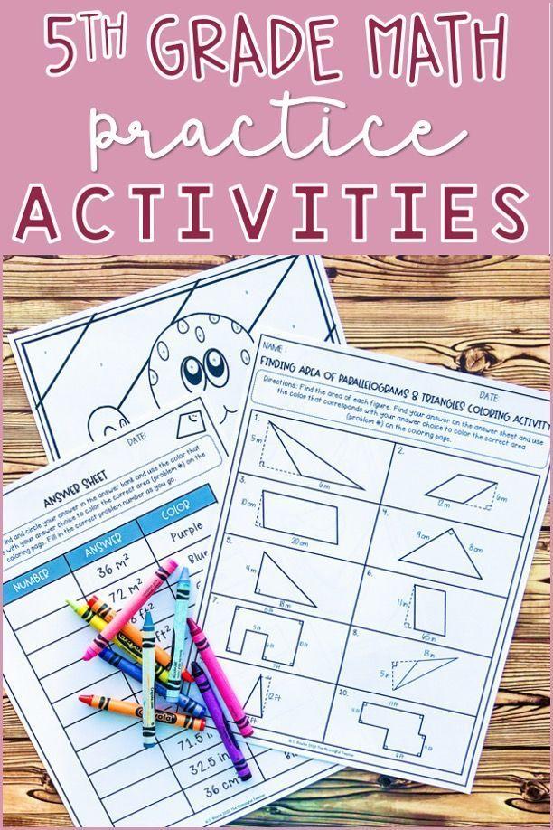 5th Grade Math Coloring Activities BUNDLE Color Activities, Math, Math  Coloring