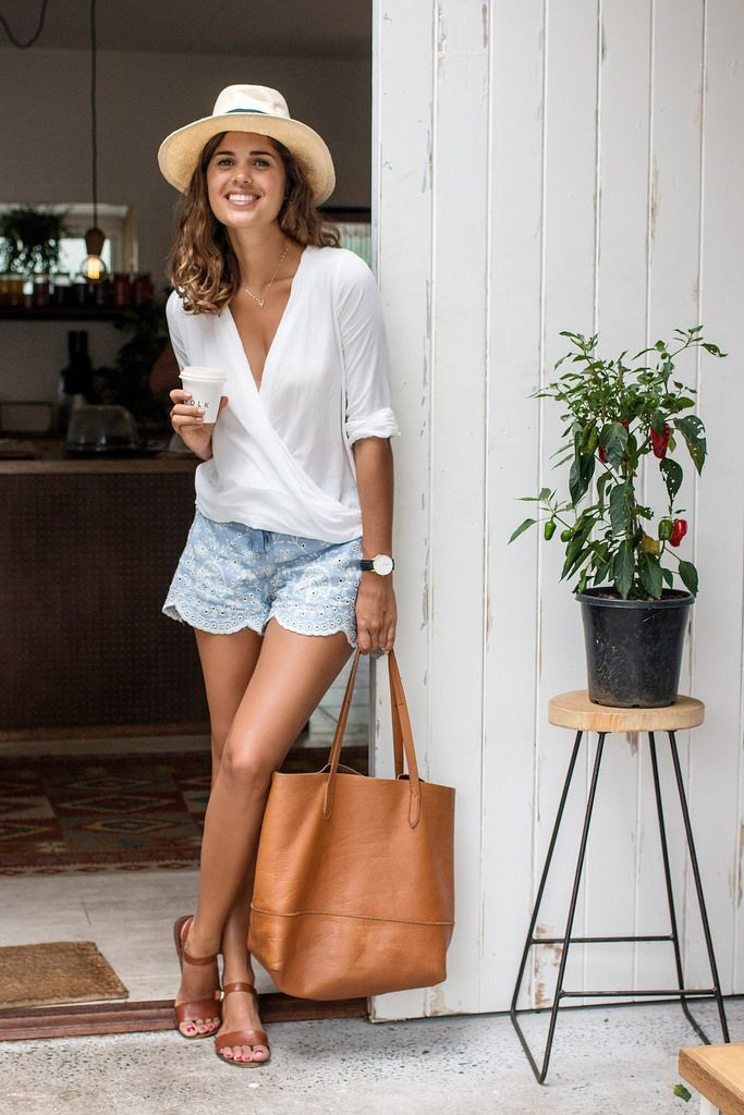 Shop this look on Lookastic:  https://lookastic.com/women/looks/long-sleeve-blouse-shorts-flat-sandals-tote-bag-hat-watch/10236  — Beige Straw Hat  — White Long Sleeve Blouse  — Light Blue Cutout Shorts  — Black Leather Watch  — Tan Leather Tote Bag  — Brown Leather Flat Sandals