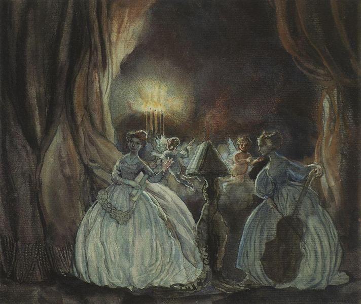Konstantin Somov(Russian,1869-1939) Concert,1900. Константин Сомов (русский, 1869-1939) Концерт, 1900. 康斯坦丁 - 索莫夫(俄语,1869-1939) 演唱会,1900。