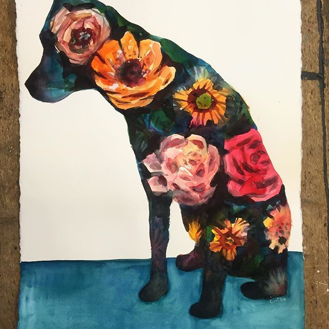 """Mønsterhund"". 56x76 cm. #akvarell #drawing #tegning #painting #maleri #dog #hund #art #kunst #atelier #labrador #worksonpaper #archespaper #watercolor #flowers #flowerdog #gunillashunder"