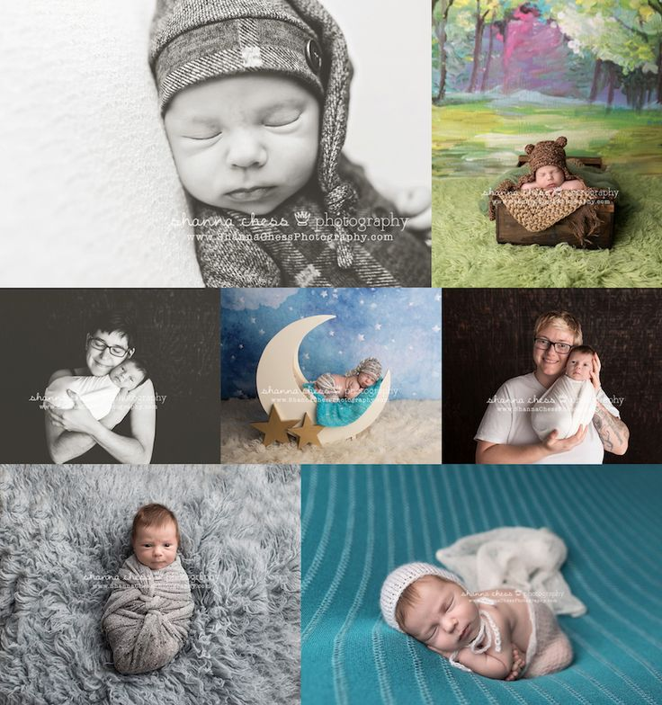Newborn photography session with teal, moon and stars prop, woodland theme baby photography, newborn baby photo collage, lgbt baby photography, baby boy, Eugene Oregon newborn photographer
