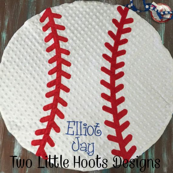 MINKY BASEBALL BLANKET Personalized Mud by TwoLittleHootsDesign