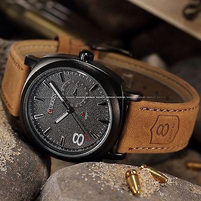 CURREN-Mens-Watches-Sport-Men-Military-Leather-Strap-Wrist-Quartz-Watch