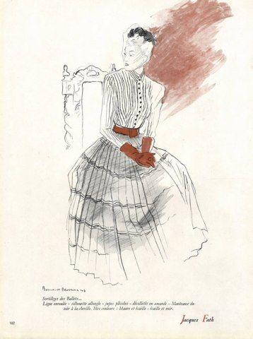 Jacques Fath 1947 Blossac Fashion Illustration Evening Gown by Bernard Blossac | Hprints.com