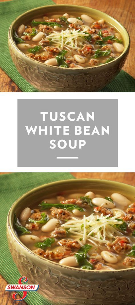Tuscan White Bean Soup Recipe - Looking for a delicious soup recipe? Then look no further… sausage, onion, white wine, beans, and kale are combined with a savory Tuscan flavor-infused broth and simmered to perfection. Plus, 45 minutes is all it takes to have this hearty soup ready to serve!
