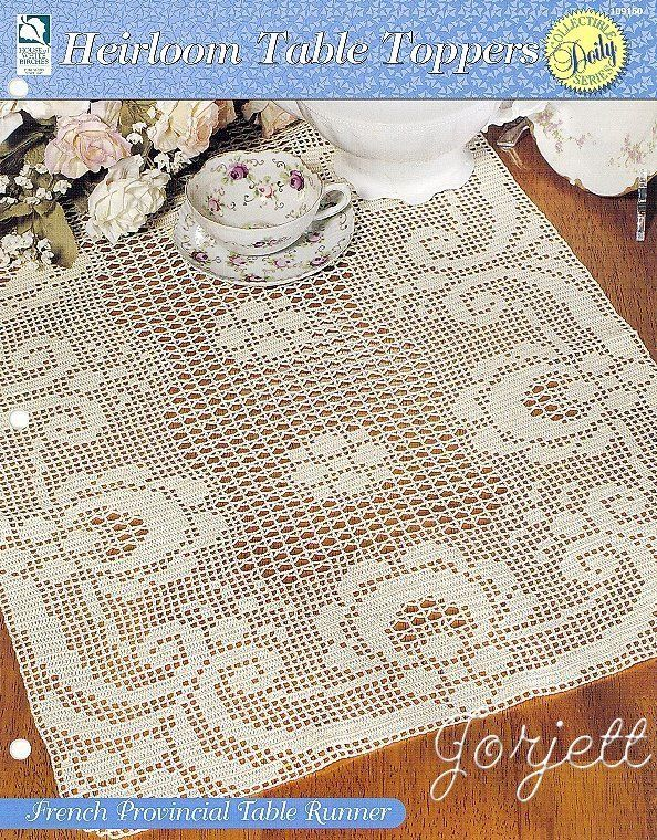 French Provincial Table Runner, Heirloom Table Toppers filet crochet pattern #HouseofWhiteBirches #Doily