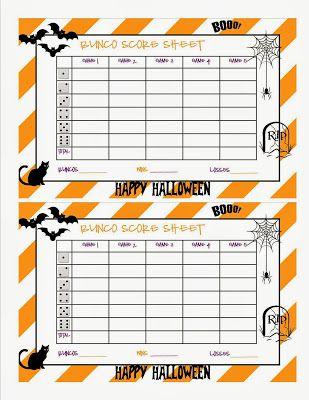 Halloween Bunco Sheet