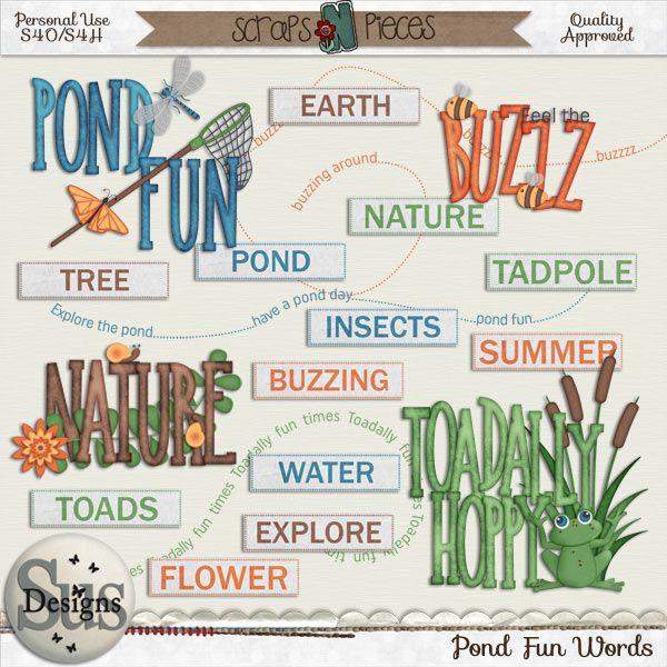 Pond Fun Words #SusDesigns #DigiScrap #Scrapbook #ScrapsNPieces