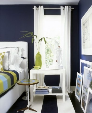 Navy - what a beautiful & bold room. Love it!