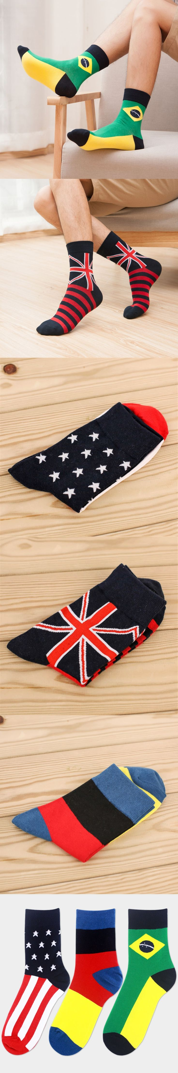 Wholesale 2016 autumn Korean cotton comfortable mens socks cute different countries flag casual calcetines hombre popular sokken
