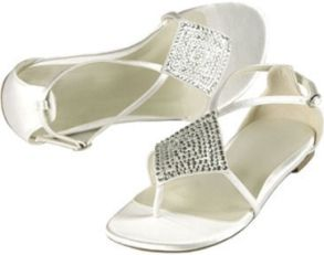 formal flat silver sandals for wedding | The fabric of the bride's flat wedding shoes