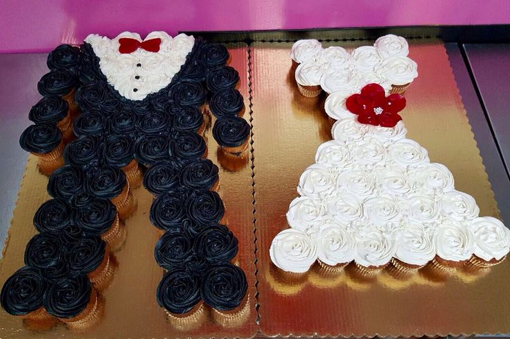 His and hers cupcake cakes! Tuxedo and wedding dress cupcake cake