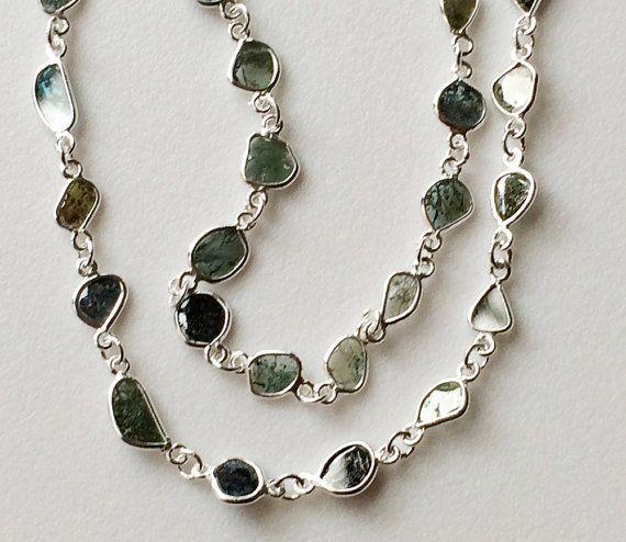 10 Blue Green Raw Diamond Slice Beaded Chain Wire by gemsforjewels