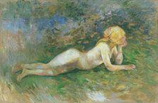 """Berthe Morisot, """"Pastora desnuda tumbada"""", 1891. El Museo Thyssen exhibe esta pieza de Morisot, perteneciente a la Colección Carmen Thyssen Bornemisza, en la GALERÍA K. Éste es el estudio de desnudo femenino más completo y ambicioso de la pintora impresionista. Morisot comienza a tratar nuevos temas. En esta ocasión no posa su hija Julie, sino Gabrièlle Dufous, una muchacha del pueblo de Mézy-sur-Seine, donde la familia Manet- Morisot pasó los veranos de 1890 y 1891. #ProgramaNosotras"""