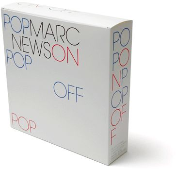 Experimental Jetset, Pop On Pop Off, July 2004, Marc Newson pop-up book Groninger Museum / Artimo Pop On Pop Off is basically a cardboard box that was published on the occasion of a Marc Newson exhibition at the Groninger Museum, containing the following items: a pop-up book, a t-shirt, two buttons (badges), and a so-called 'blotter art' sheet (a perforated sheet of undipped LSD stamps).