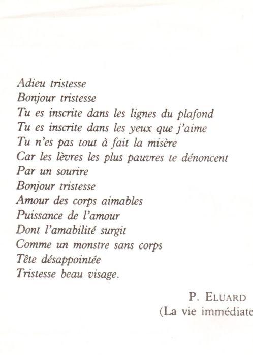 Paul Eluard - La vie Immédiate - Adieu tristesse...