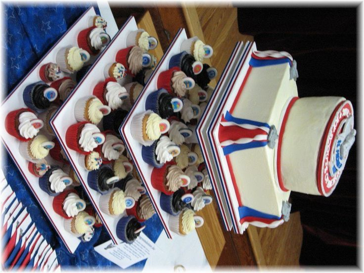 Eagle Scout Cupcakes & Cake For My Nephew As the proud Aunt of an Eagle Scout, I'm posting the Cupcake Tower with Cake Topper I...