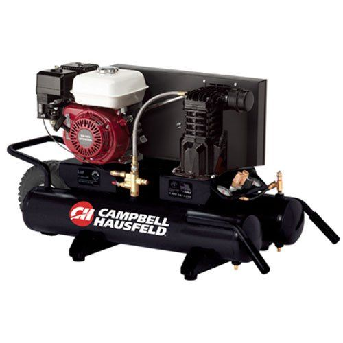Campbell Hausfeld Air Compressor, 9-Gallon Wheelbarrow Single-Stage 10.2CFM 5.5 HP GX160 Honda (CE2000). Heavy-duty, cast iron, oil-lubricated, two-cylinder, single-stage pump, 9-gallon tank, 10.2 CFM @ 90 PSI, 135 Max PSI. The Honda GX160 engine provides heavy-duty, reliable power. This gas-powered wheelbarrow air compressor is ideal for working where electric power is unavailable while offering a fully enclosed metal belt guard for safe operation during jobs. The CE2000 can power a wide...