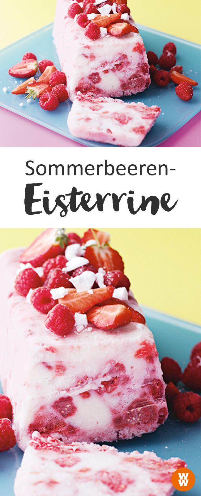 Sommerbeeren-Eisterrine, Beeren, Eis, Erdbeereis, Himbeereis, Eis selber machen, ohne Eismaschine | Weight Watchers