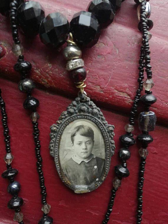 Halloween necklace Victorian gothic momento mori gothic