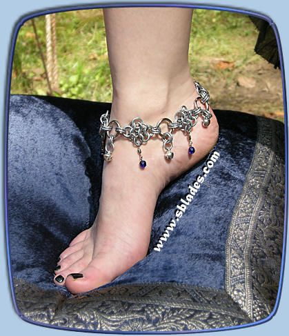 Amira dancer anklet, Chain-mail ankle jewelry w/bells, Belly dance chainmaille by Chainmail & More
