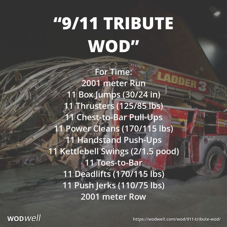 """9/11 TRIBUTE WOD"": For Time: 2001 meter Run; 11 Box Jumps; 11 Thrusters; 11 C2B Pull-Ups; 11 Power Cleans; 11 HSPUs; 11 KBS; 11 T2B; 11 Deadlifts; 11 Push Jerks; 2001 meter Row"