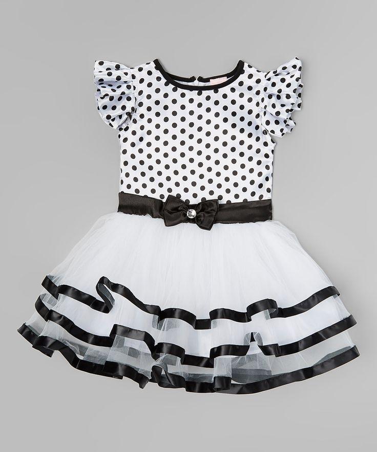 Look at this #zulilyfind! Black & White Polka Dot Ruffle Dress - Toddler & Girls by Wenchoice #zulilyfinds