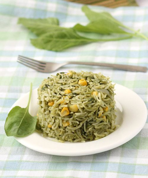 Palak Pulao with Sweet Corn (Spinach Rice) - Kids Special Healthy Rice - Serve it with plain curd or dal in the lunch or dinner. - Step by Step Recipe with Photos