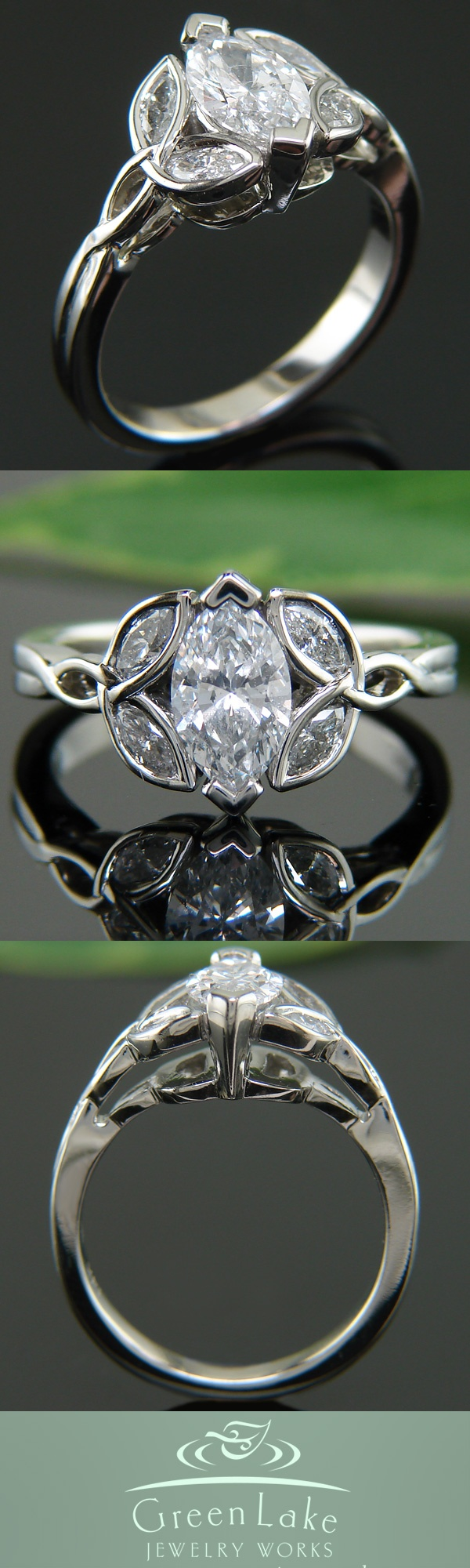 Custom made trinity ring in 14K X1 white gold with marquis-cut diamonds.
