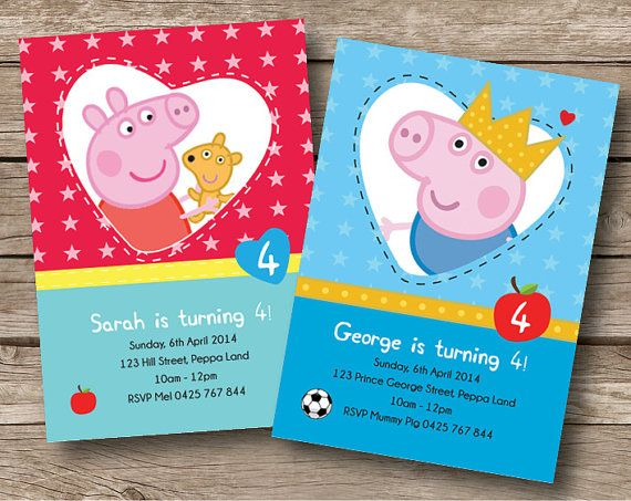 Peppa Pig George Pig Birthday Party Personalised Invitation Card Custom Invite Kids Boutique Cheerful Apple Teddy Bear Crown