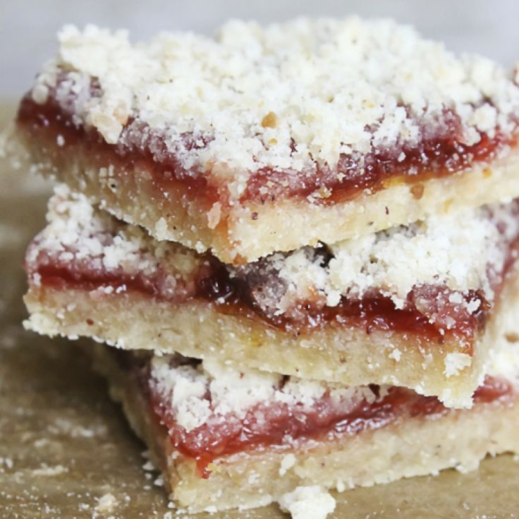 Delicious pastry bars topped with your favorite jam and a crumble sweet topping.. Pastry Bars Recipe from Grandmothers Kitchen.