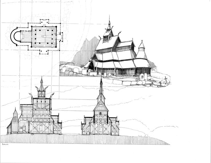 Norwegian Stave Churches Hand Drawing Historical ArchitectureHand DrawingsArchitectural DrawingsMedievalEnvironmentArchitecture