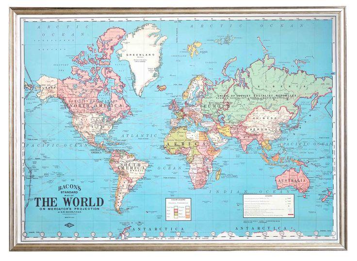 Lámina Mapa Mundial Celeste   The Wall Republic