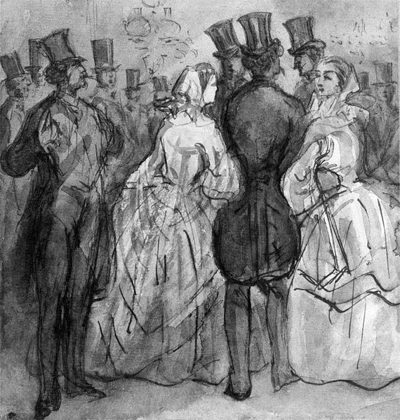 At the Theater (Au foyer du théatre; Ladies and Gentlemen) - Constantin Guys