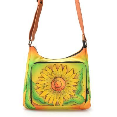 Anuschka Hand-Painted Leather Organizer Pocket Crossbody Bag