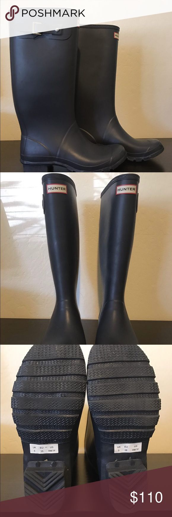 "Hunter Huntress Wellies - Navy In like new condition these have only been tried on a few times! No scuffs, scratches, or other defects. These are the wider calf version.  The Navy color goes with everything.  I absolutely love these boots, unfortunately they just don't fit! 15.7"" calf circumference, 13.8"" shaft height Hunter Boots Shoes Winter & Rain Boots"