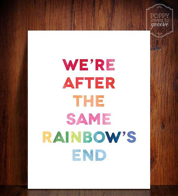 """Instant Download- Printable Moon River watercolour quote """"We're after the same rainbow's end"""" by poppylovestogroove, $5.00"""