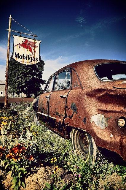 Vintage Mobilgas Service Station Sign & Rusty Old Car!