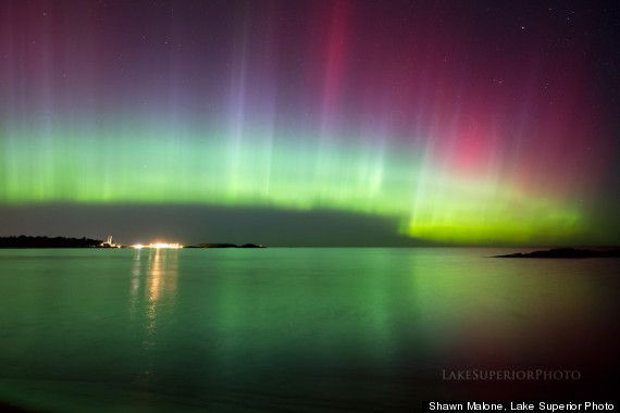 Aurora borealis in Marquette, Michigan with incredible public access beaches on Lake Superior. Also, Sugarloaf Mountain, seven miles north of Marquette, leads to three observation decks with incredible Northern Lights views especially during autumn, when the fall colors are spectacular.  http://m.huffpost.com/us/entry/4110982?ncid=edlinkusaolp00000003