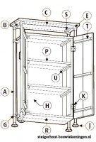 Gratis bouwtekening voor een kast van steigerhout met aan de buitenkant steigerbuizen.
