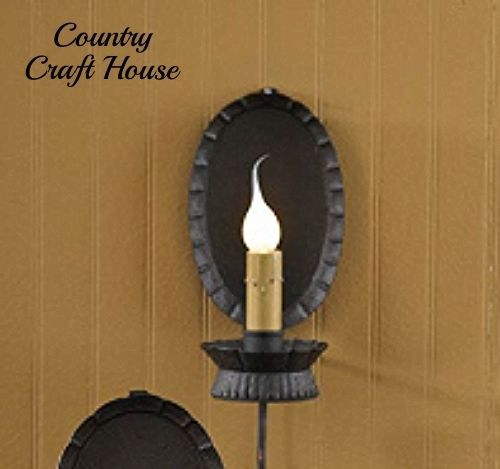 New Primitive Colonial REFLECTOR LIGHT Electric Candle Lantern Lamp Wall Sconce