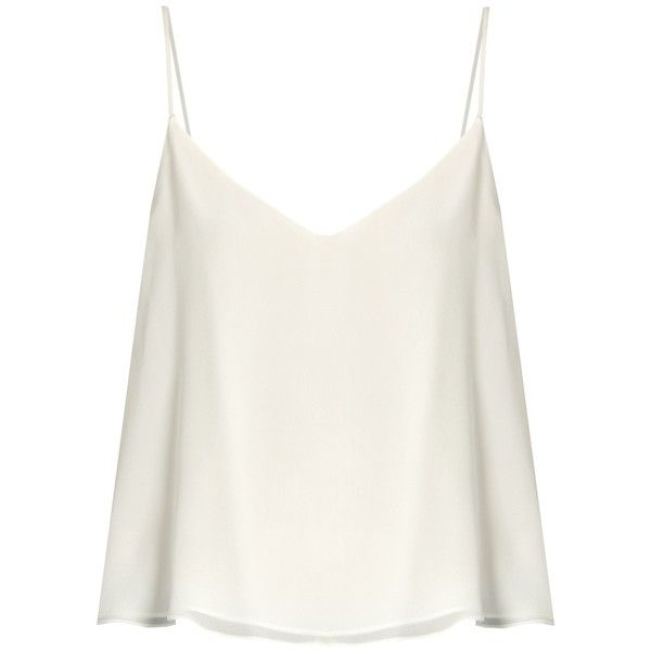 Raey Deep V-neck silk cami top found on Polyvore featuring tops, shirts, blusas, tank tops, ivory, white tank top, white silk camisole, white silk cami, white silk shirt and ivory shirt