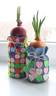 Felt decorated felt bag to cover plant pot.  Makes a lovely gift.