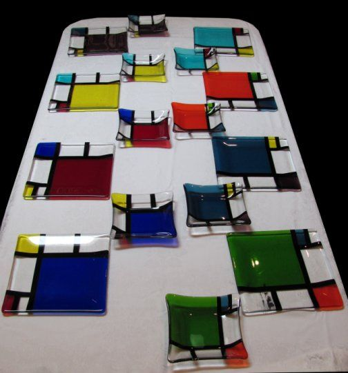 Mondrian-inspired Fused Glass Set of Dishes