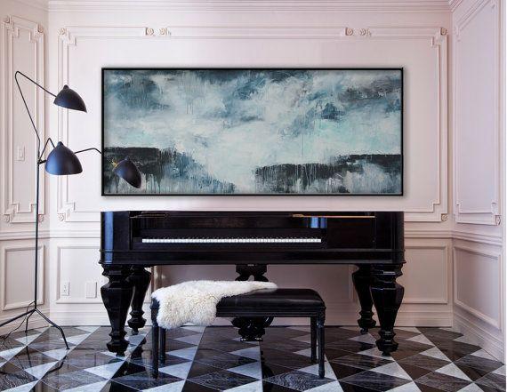 72 x 30 abstract groot schilderij horizontale door ElenasArtStudio
