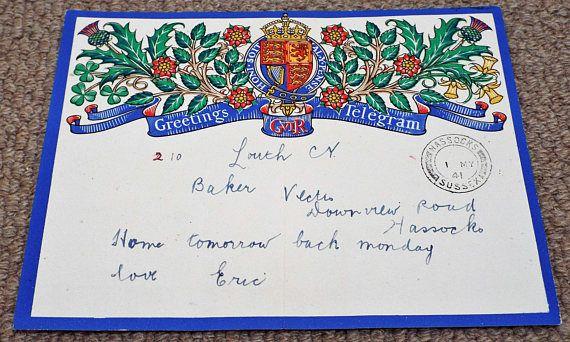 Vintage 1941 GPO King George VI Greetings Telegram  Post