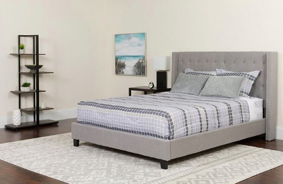 Riverdale Full Size Tufted Upholstered Platform Bed Frame Light Grey Headboard Flashfurniture Contemporary Grey Platform Bed Upholstered Platform Bed Platform Bed Frame