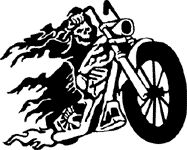 Grim Reaper On Flaming Motorcycle Bike Sticker