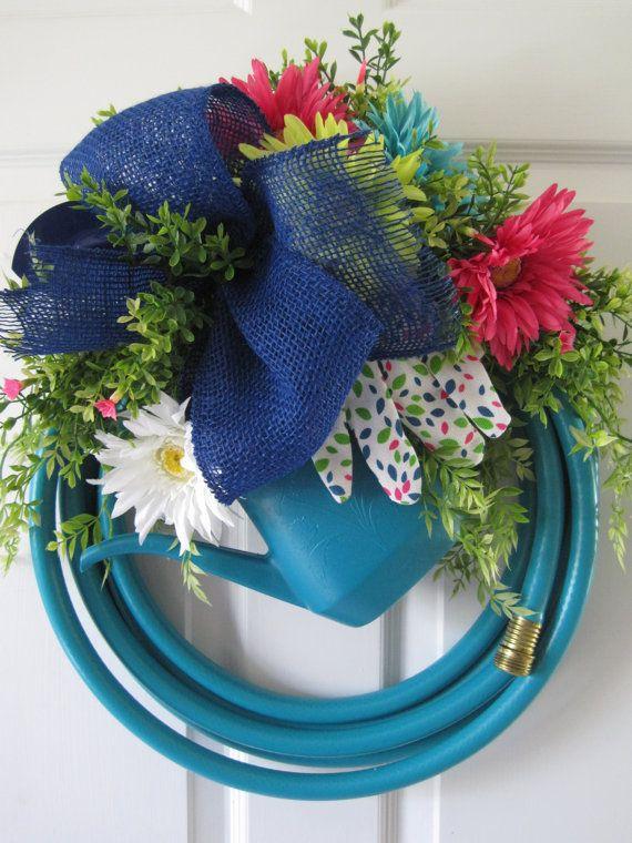 Turquoise Garden Hose Wreath Fun Florals Custom by FunFlorals